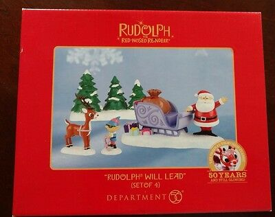 Department 56 Rudolph Will Lead BNIB Never Displayed Christmas Santa Figurine