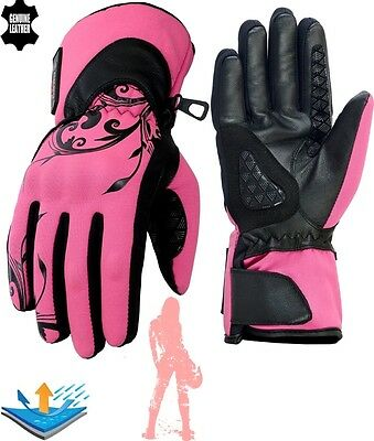 Ladies Thermal Waterproof Real Leather Hard Knuckle Softshell Motorbike Gloves