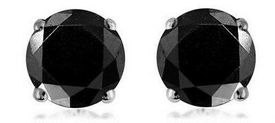 BLACK DIAMOND SOLID SILVER PLATED  EARRINGS 3mm ROUND CREATED STONE