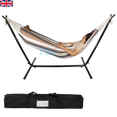 Double Polyester Hammock with Steel Frame Stand Combo Swinging Camping Outdoor