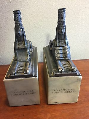 Los Angeles Public Library Pewter Sphinx bookends or mantle pieces PAIR