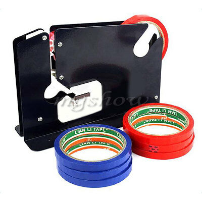 Metal Plastic Bag Neck Sealer With Trimming Blade + 6 Rolls of Tape Cutter