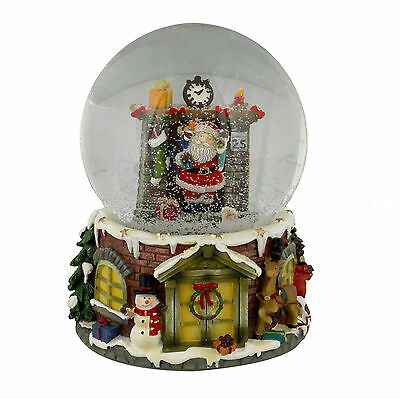 Santa In Chimmney Musical Christmas Snow Globe Waterball Hand Painted