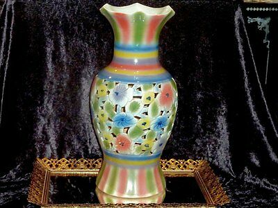 Beautiful Antique Hand Crafted Large Mantel Family Rose Vase C 1900'S ? China.