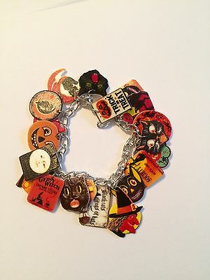 Vintage Retro Halloween Charm Bracelet HANDMADE PLASTIC CHARMS Witch Cats Fall
