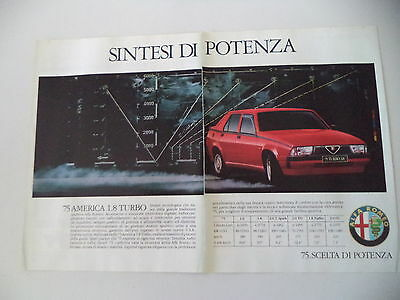 advertising Pubblicità 1988 ALFA ROMEO 75 AMERICA 1.8 TURBO