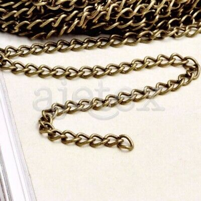 0.8mm Antique Brass Stainless Steel Circle Chain Link Necklace Jewelry 4 Meters