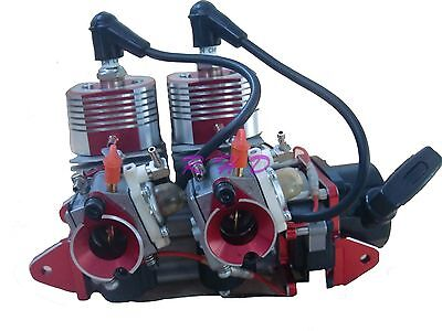58CC Inline Twin  Left Side Exhaust Marine Engine For RC Boat QJ ZENOAH RCMK