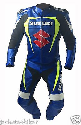 Suzuki Mens Racing Suit Motorcycle Leather Suit Motorbike Leather Jacket Trouser