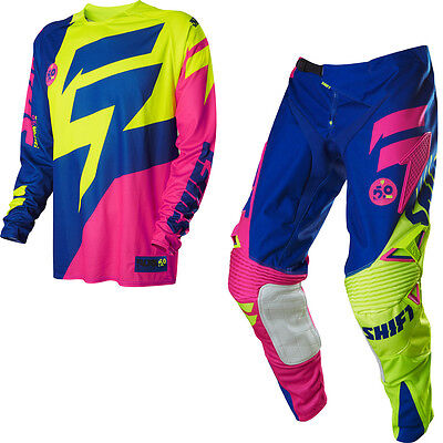 Shift MX15 Faction MX Jersey & Pant Bundle - LE A1 Reed Fluo Yellow/Blue/Pink -