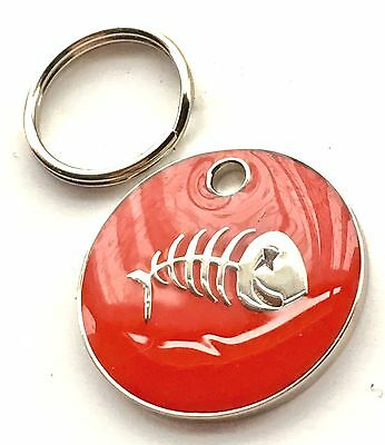 Personalised Engraved Red Fish Scales Cat Pet ID Tag 20mm