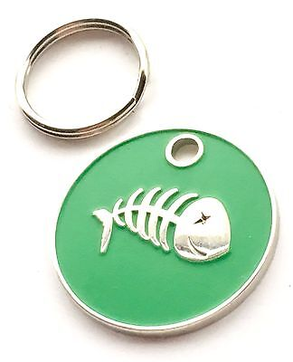Personalised Engraved Green Fish Scales Cat Pet ID Tag 20mm