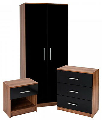 Teak Bedroom Furniture 3pc Set with Black Gloss Fronts Inc Robe Chest & Bedside
