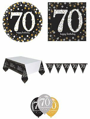 70th Birthday Party Pack 8 Black Silver & Gold Tableware Decorations Bunting