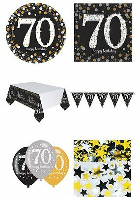 70th Birthday Party Pack 8 Black & Gold Glitter Tableware Decorations Balloons