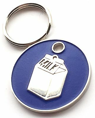 Personalised Engraved Dark Blue Milk Carton Cat Pet ID Tag 20mm