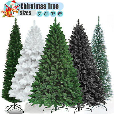 7Ft Green Christmas Fir Tree Artificial Pine Tips Metal Stand Black White Indoor