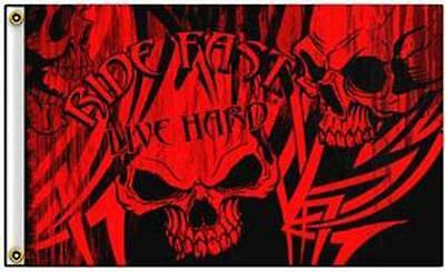 Ride Hard Red Skulls  3 X 5 Motorcycle Deluxe Biker Flag #444 Skeletons Banners