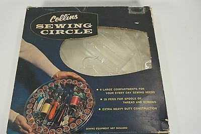 COLLINS Sewing Circle SEWING BOX VINTAGE CLEAR CONTAINER Round NIP NOS