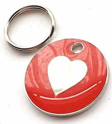 Personalised Engraved Red Love Heart Cat/Dog Pet ID Tag 20mm