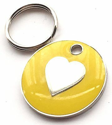 Personalised Engraved Yellow Love Heart Cat/Dog Pet ID Tag 20mm