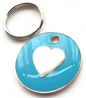 Personalised Engraved Light Blue Love Heart Cat/Dog Pet ID Tag 20mm