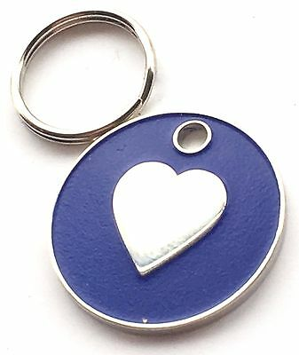 Personalised Engraved Dark Blue Love Heart Cat/Dog Pet ID Tag 20mm
