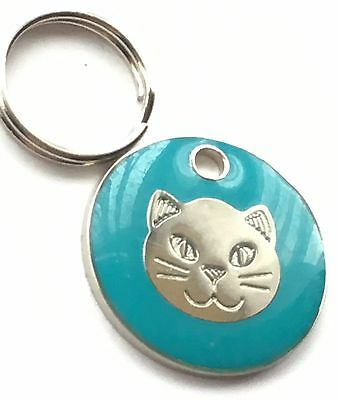 Personalised Engraved Light Blue Cat Kitten Face Cat/Dog Pet ID Tag 20mm