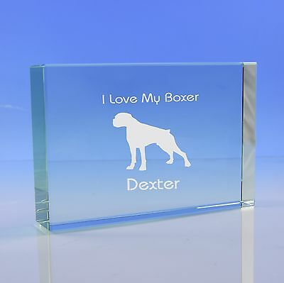 Boxer Dog Gift Personalised Engraved Glass Paperweight Ornament