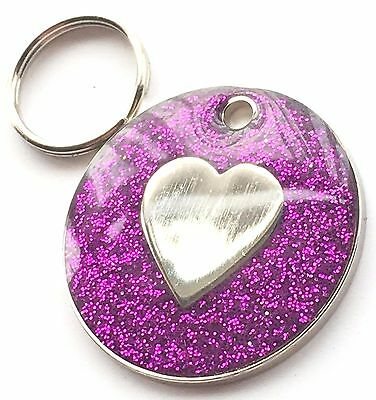 Personalised Engraved Purple Glitter Love Heart - Dog/Cat Pet ID Tag 26mm