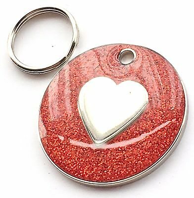 Personalised Engraved Red Glitter Love Heart - Dog/Cat Pet ID Tag 26mm