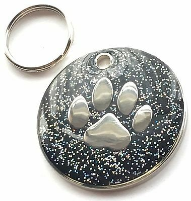 Personalised Engraved Black Glitter Paw Print - Dog/Cat Pet ID Tag 26mm