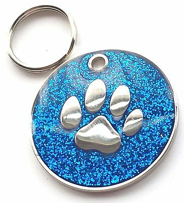 Personalised Engraved Blue Glitter Paw Print - Dog/Cat Pet ID Tag 26mm