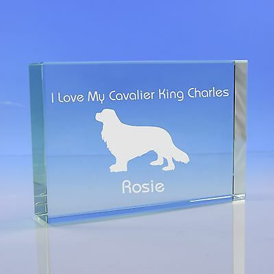 Cavalier King Charles Dog Gift Personalised Engraved Glass Paperweight Ornament
