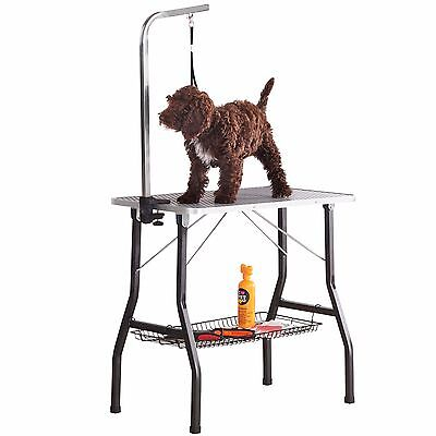 Foldable Steel Non-slip Dog Puppy Portable Grooming Table & Adjustable Arm S M L