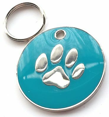Personalised Engraved Light Blue Enamel Paw Print - Dog/Cat Pet ID Tag 26mm