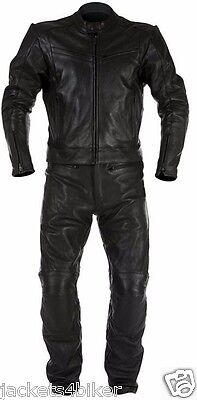 Black Racing Motorbike Leather Suit Biker Suit Motorcycle Leather Jacket Trouser