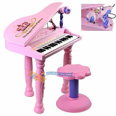 Kids Childrens Electronic 37 Key Keyboard Piano Toy Record With Microphone Stool