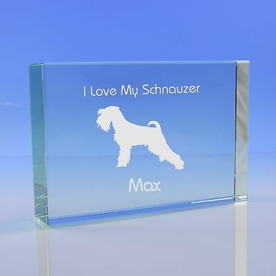 Schnauzer Dog Gift Personalised Engraved Glass Paperweight Ornament