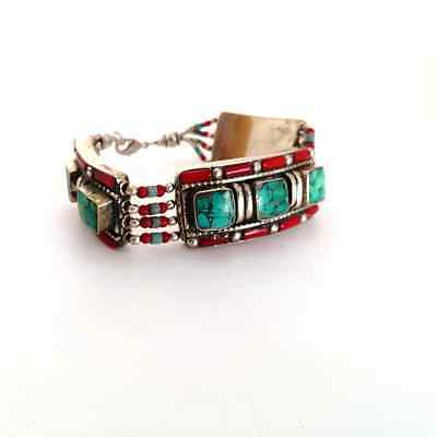 """Nepali Bracelet Turquoise Coral Silver Plated Designs Boho Chic Jewelry 7"""""""