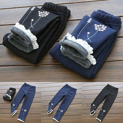Kids Baby Girls Winter Thick Warm Fleece Lined Denim Jeans Pants Trousers 3-8Y