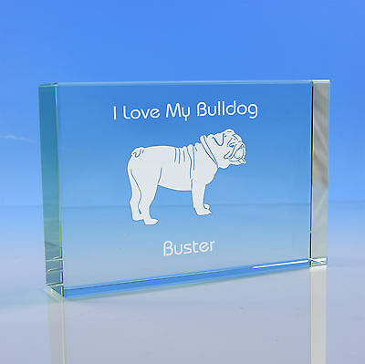 British / English Bulldog Gift Personalised Engraved Glass Paperweight Ornament