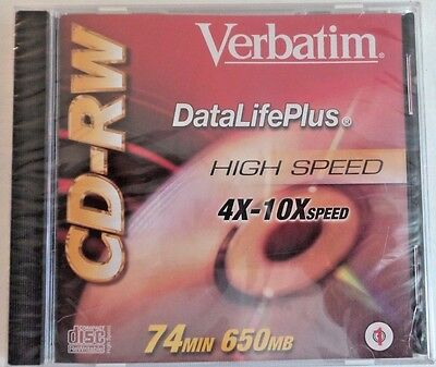 Verbatim DataLife Plus CD-RW (650MB, 4X-10x Speed) Usually ships in 12 hours!!!