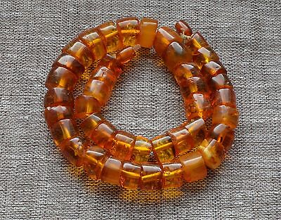 62.7 gr Genuine Natural Baltic Amber Round Beads Necklace Egg Yolk Cognac