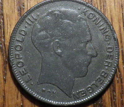 1941 Belgium 5 Francs - WWII Coinage - Very Nice LOOK