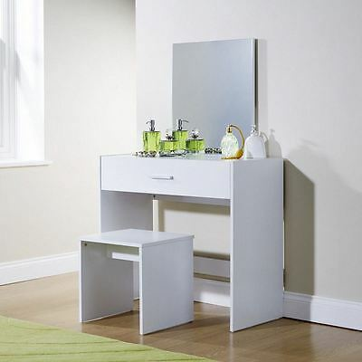 Modern Square Style Mirrored Dresser With Stool In 3 Colours