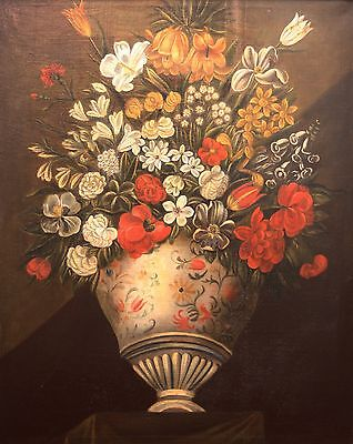 Large Antique Early Italian Floral Still Life Oil Painting- Circa 18th Century