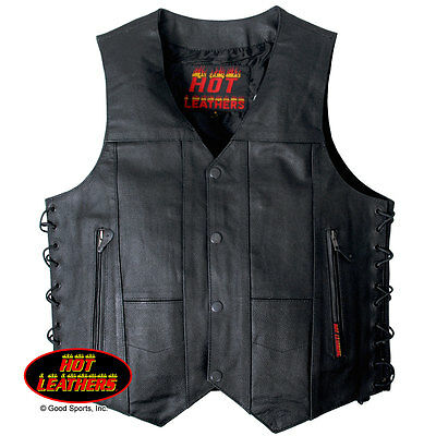 NEW Hot Leathers USA designed Leather waistcoat with lace sides & 10 pockets