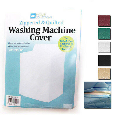 2 Pc Vinyl Quilted Washing Machine Dryer Cover Zippered Zipper Top Dust Colors