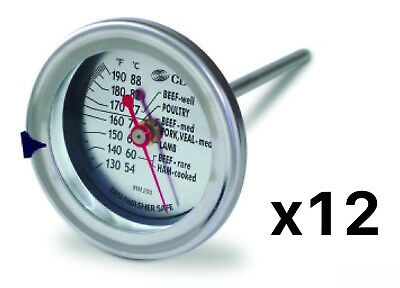 CDN Large Dial Meat Thermometer Oven Safe Roast/Chocolate/Turkey/Bbq (12-Pack)